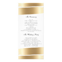 White & Gold Brush Stroke Wedding Program