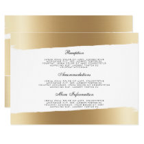 White & Gold Brush Strokes Wedding Information Card