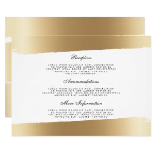 White & Gold Brush Strokes Wedding Information Card