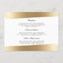 White & Gold Brush Strokes Wedding Information Enclosure Card
