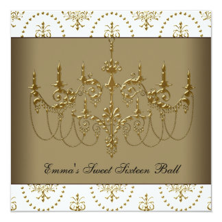 White Gold Chandelier Classy Sweet Sixteen Ball 5.25x5.25 Square Paper Invitation Card