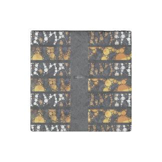 White Gold Cheetah Bling Stone Magnet