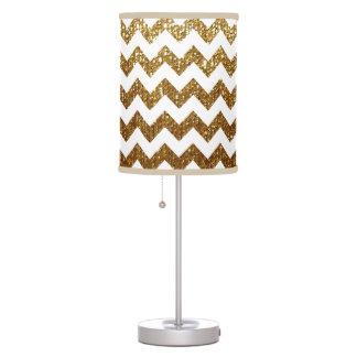 white & gold chevron desk lamp