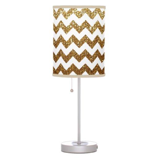 White Gold Chevron Desk Lamp Zazzle
