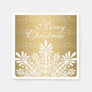 White & Gold Christmas Snowflake Standard Cocktail Napkin