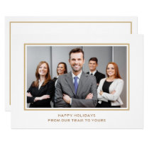 White Gold Classy Corporate Business Photo holiday Card