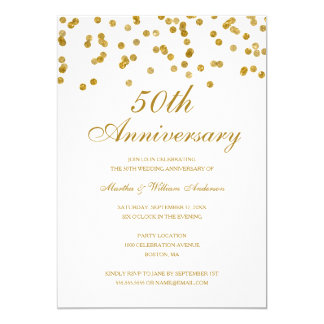 White & Gold Confetti 50th Wedding Anniversary Invitation