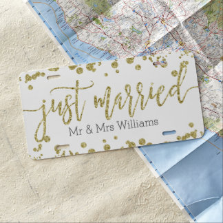 White & Gold Confetti Wedding Just Married License Plate