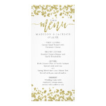 White & Gold Confetti Wedding Menu