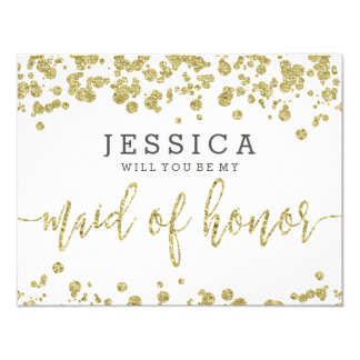 White & Gold Confetti Will You Be My Maid of Honor Card