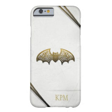 Halloween Themed White & Gold Custom Bat Phone with Initials Barely There iPhone 6 Case