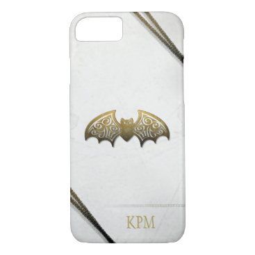 Halloween Themed White & Gold Custom Bat Phone with Initials iPhone 8/7 Case
