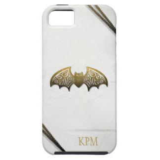 White & Gold Custom Bat Phone with Initials iPhone SE/5/5s Case