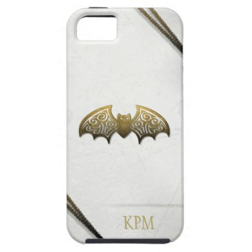 Halloween Themed White & Gold Custom Bat Phone with Initials iPhone SE/5/5s Case