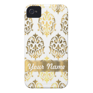 White & gold damask iPhone 4 covers