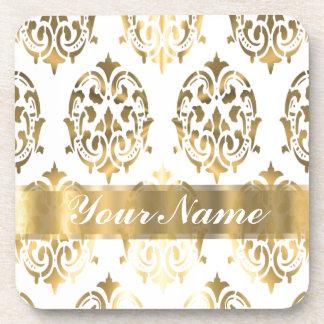 White & gold damask drink coaster