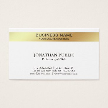 Lawyer Themed White Gold Design Elegant Modern Company Chic Business Card