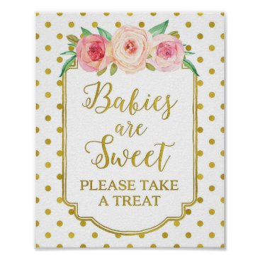 Art Themed White Gold Dots Babies are Sweet Favors Sign