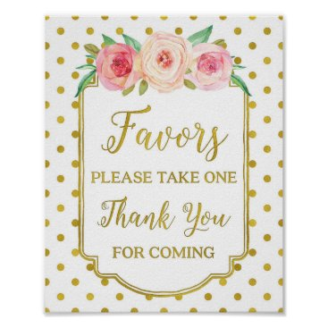 Art Themed White Gold Dots Blush Floral Favors Sign
