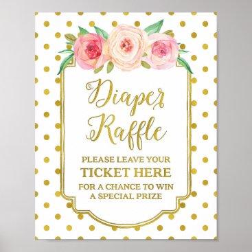 Art Themed White Gold Dots Diaper Raffle Sign