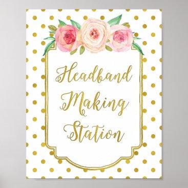 Art Themed White Gold Dots Headband Making Station Sign