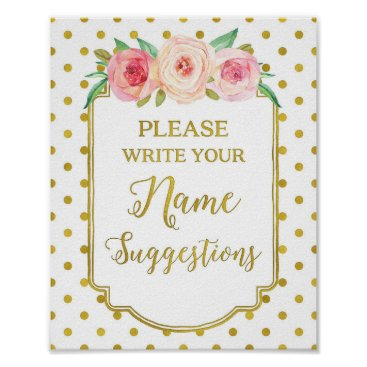 Art Themed White Gold Dots Name Suggestions Sign