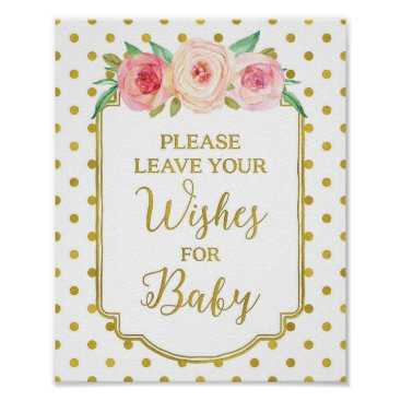 Art Themed White Gold Dots Wishes for Baby Sign
