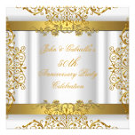 White Gold Elegant Gold 50th Wedding Anniversary Custom Announcements