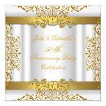 White Gold Elegant Gold 50th Wedding Anniversary 5.25x5.25 Square Paper Invitation Card