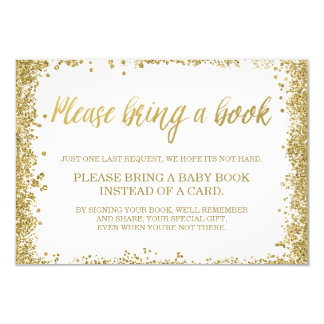 White Gold Faux Glitter Baby Shower Book Card
