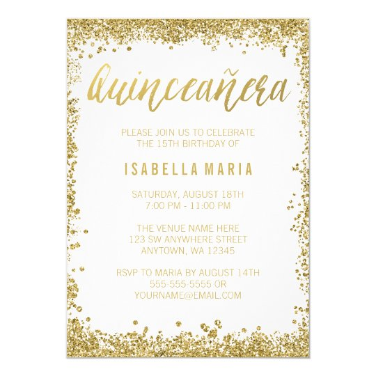 White gold faux glitter quinceanera 15th birthday invitation white gold faux glitter quinceanera 15th birthday invitation filmwisefo