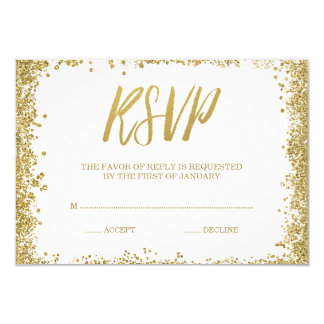 White Gold Faux Glitter RSVP Card