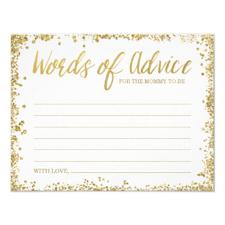 White Gold Faux Glitter Words of Advice Card