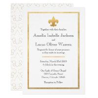 White & Gold Fleur De Lis Wedding Invitation