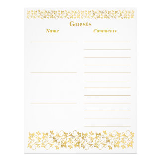 White, Gold Floral Guest Book Paper