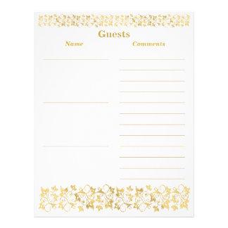White, Gold Floral Guest Book Paper Letterhead