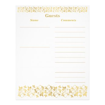 White, Gold Floral Guest Book Paper Letterhead