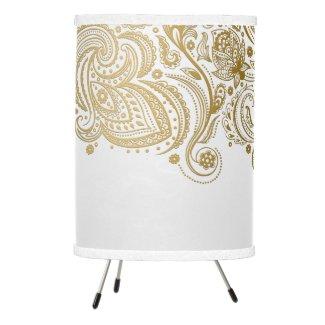 White & Gold Floral Paisley Lace Tripod Lamp