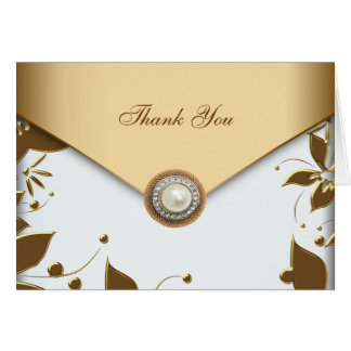 White Gold Flower Pearl Thank You Cards