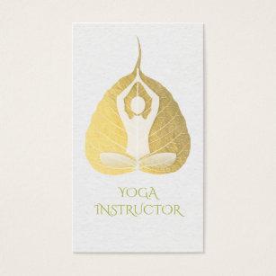 Gold leaf business cards templates zazzle white gold foil bodhi leaf yoga meditation pose business card colourmoves Image collections