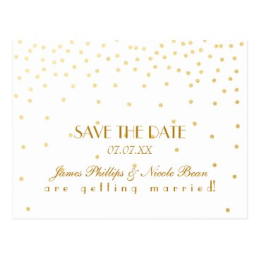printabledigidesigns White & Gold Foil Dots Save The Date Postcard