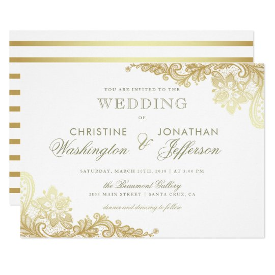 Gold Wedding Invitations.White Gold Foil Floral Lace Wedding Invitation