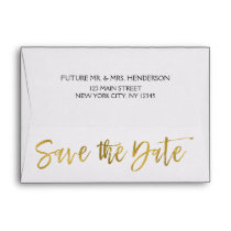 White Gold Foil Save the Date Envelope