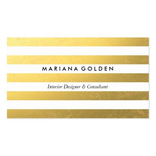 White & Gold Foil Stripe Business Card