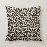 White & Gold Glam Leopard Throw Pillow