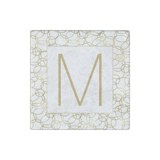White Gold Glam Stylish Circles Monogram Stone Magnet