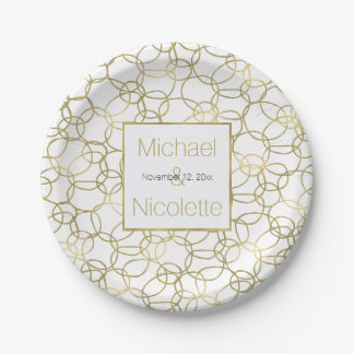 White Gold Glam Stylish Circles Wedding Paper Plate