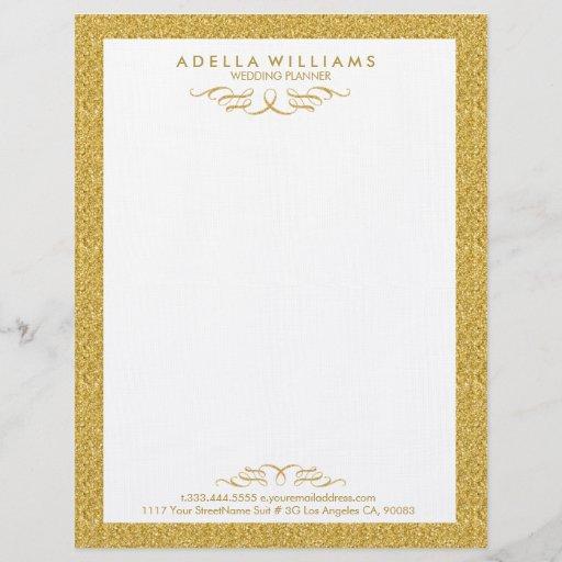 White & Gold Glitter Calligraphic Swirls Frame Letterhead