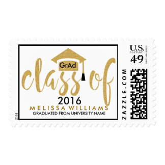 White & Gold Glitter Class Of 2016 Modern Text Postage