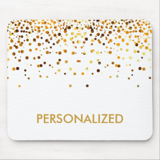 White Gold Glitter Confetti Faux Personalized Mouse Pad